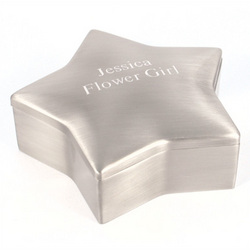 Personalized Antique Pewter Brushed Classic Star Jewelry Box