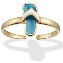 14k Gold Turquoise Enameled Flip Flop Toe Ring