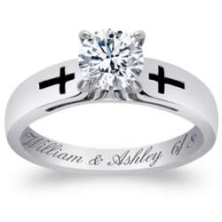 Sterling Silver CZ Cross Engraved Date Engagement Ring