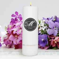Personalized Magical Monogram Round Pillar Unity Candle