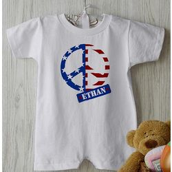 Personalized American Flag Peace Symbol Baby Romper