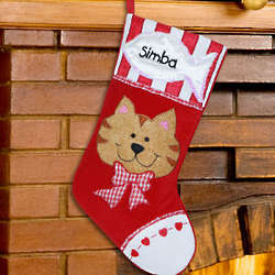 Cat's Embroidered Christmas Stocking