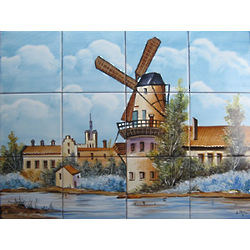 Handpainted Backsplash or Outdoor Windmill Ceramic Tile Mural