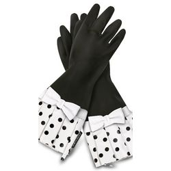 Sassy Black Polka Dot Rubber Gloves