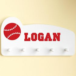 Red Personalized Sports Wall Peg Rack