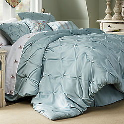 Pintucked Queen Comforter with Bedskirt and Shams