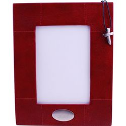 Red Leather Frame with Pewter Hanging Cross