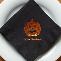 Personalized Spooktacular Orange Foil Pumpkin Party Napkins