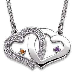 Sterling Silver Couple's Intertwined Hearts Birthstone Necklace