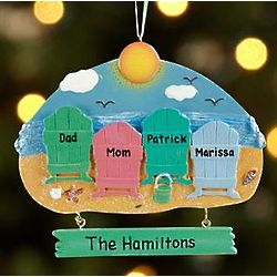 Personalized Beach Chairs Ornament