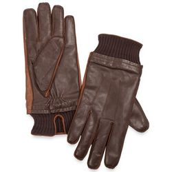 Italian Leather Two-Tone Gloves