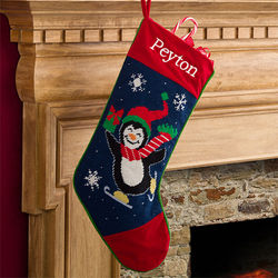 Winter Charm Embroidered Penguin Needlepoint Stocking