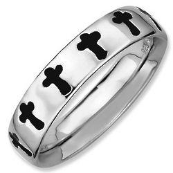Black Enamel Purity Cross Stackable Ring in Sterling Silver