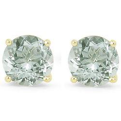 6mm Green Amethyst Stud Earrings in 14K Yellow Gold