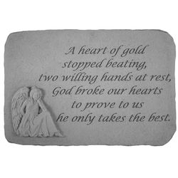 A Heart of Gold Memorial Stone with Sitting Angel