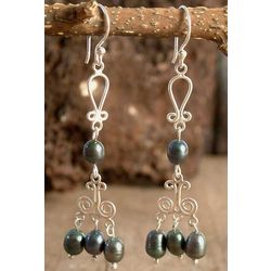 'Iridescent Black' Pearl Chandelier Earrings