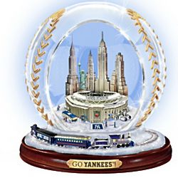 New York Yankees Crystal Baseball with Lights and Train Figurine