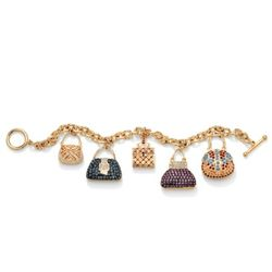 14k Gold-Plated Multi-Colored Crystal Purse Charm Bracelet