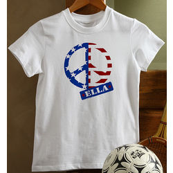 Personalized American Flag Peace Symbol Kid's T-Shirt