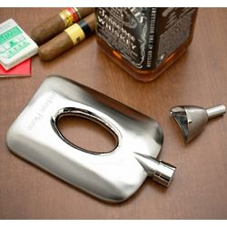 Oval Cut Hip Flask with Funnel