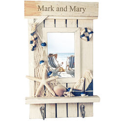 Nautical Beach Picture Frame with Hooks