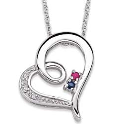Sterling Silver Couple's Diamond and Birthstone Heart Necklace