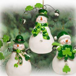 Happy Irish Snowmen Ornaments
