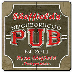 Neighborhood Pub Coaster Puzzle Set