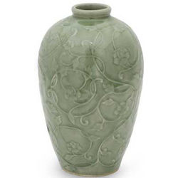 Wildflower Celadon Ceramic Vase
