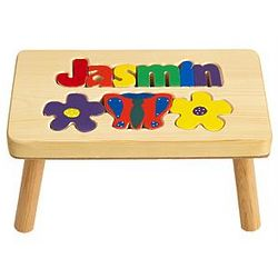 Personalized Primary Flower Puzzle Step Stool