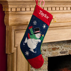 Winter Charm Embroidered Snowman Needlepoint Stocking