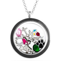 Personalized Build-a-Charm Floating Locket in Black