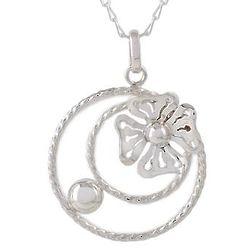 Stellar Flower Sterling Silver Pendant Necklace