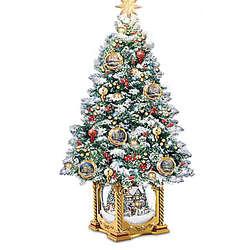 Thomas Kinkade Snowglobe Christmas Tree with Lights and Music