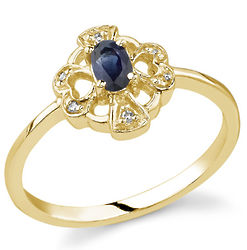 Heart and Cross Oval Sapphire & Diamond 14K Yellow Gold Ring