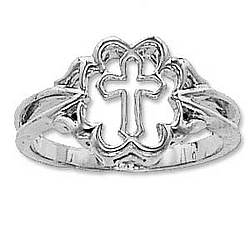 14k White Gold Cross Purity Ring