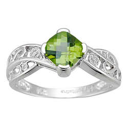 Diamond & Peridot Ring in 14K White Gold
