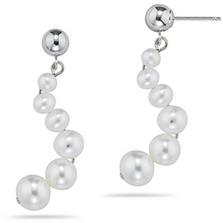 Pearl Earrings in 14K White Gold
