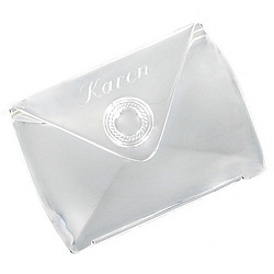 Mini Silver Plated Envelope Compact Mirror