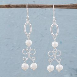 'White Light' Pearl Chandelier Earrings