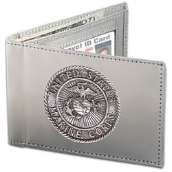 """Semper Fi"" Stainless Steel Men's Wallet"
