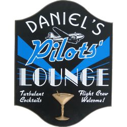 Pilot's Lounge Personalized Pub Sign