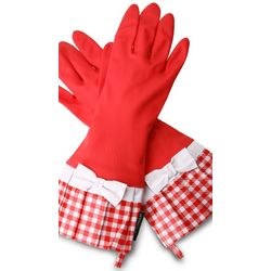 Sassy Red Gingham Rubber Gloves