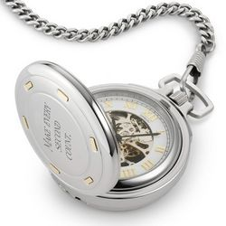 Stainless Steel Skeleton Pocket Watch with 14k Gold Accents