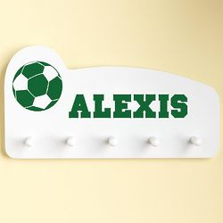 Green Personalized Sports Wall Peg Rack
