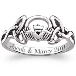 Engraved Sterling Silver Claddagh Celtic Knot Ring