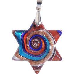 Swirled Glass Jewish Star Pendant