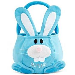 Personalized Blue Cottontail Plush Bunny Basket