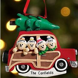 Personalized Five Bears Woody Wagon Ornament