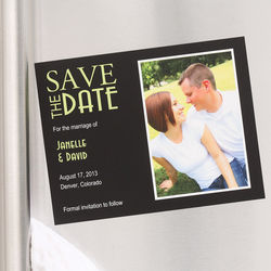 Custom Photo Black Save the Date Wedding Magnets